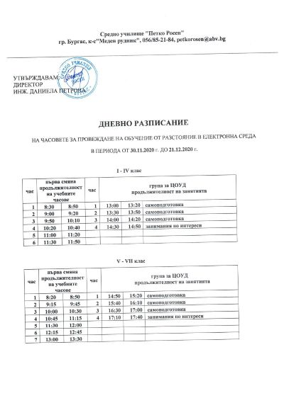 Дневно разписание на часовете за провеждане на обучение от разстояние в електронна среда от 30.11.2020 г. до 21.12.2020 г. 1