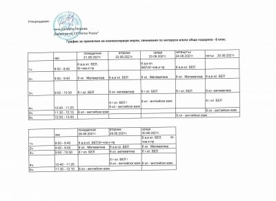 график дейности V и VI клас 2