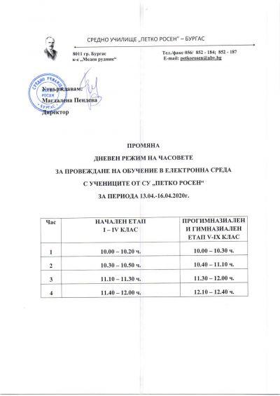 Промяна график за периода 13.04. - 16.04.2020 г. 1